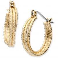 Ladies Nine West Gold Plated Hoop Earrings