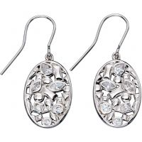 Ladies Elements Sterling Silver Floral Drop Earrings E5356C