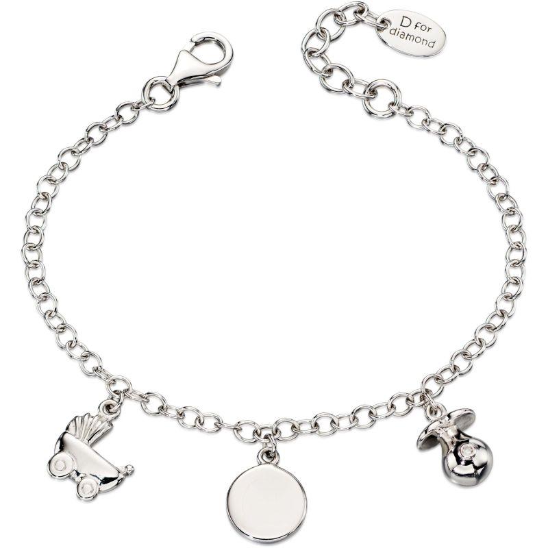 Childrens D For Diamond Sterling Silver Charm Bracelet B4889