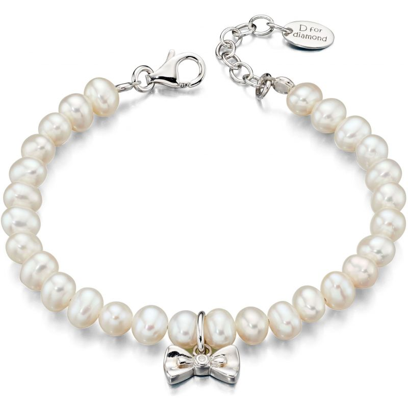 Childrens D For Diamond Sterling Silver & Cultured Pearl Bracelet B4890