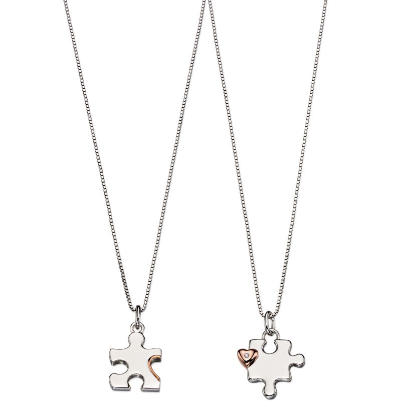 D For Diamond Kinderen Mother & Child Puzzle Necklace Set Sterling Zilver P4439