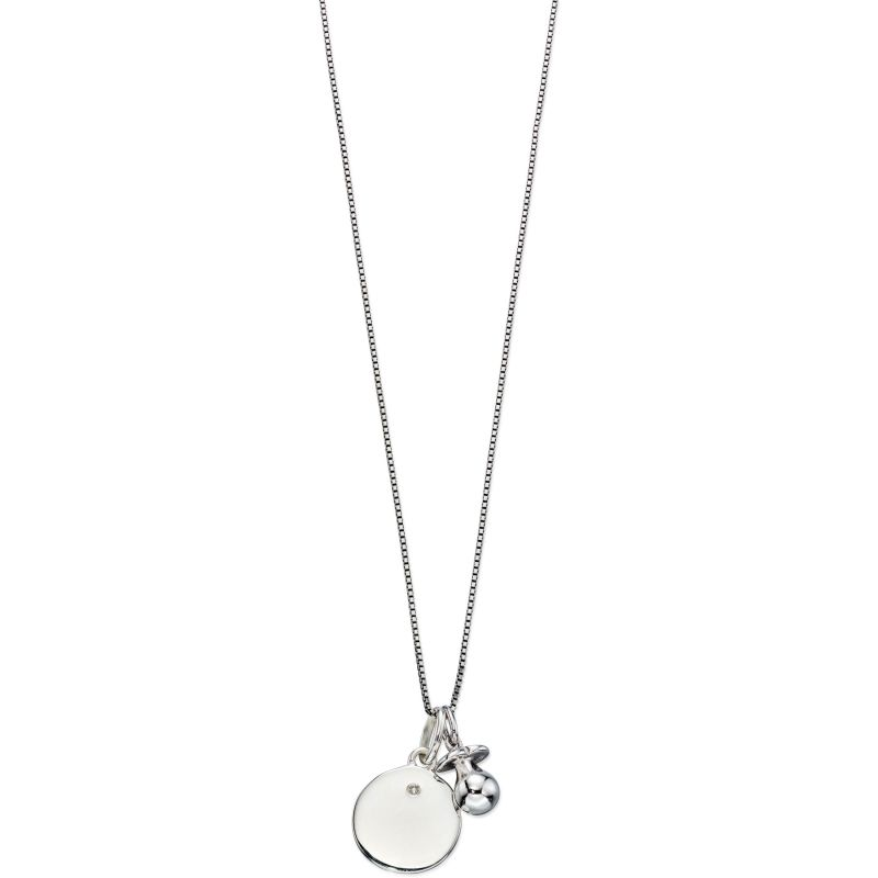 Childrens D For Diamond Sterling Silver Dummy Charm Necklace P4446