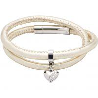 Ladies Unique Stainless Steel & Leather Bracelet B358GO/19CM