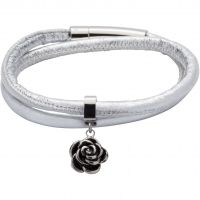 Ladies Unique Black Ion-plated Steel & Leather Bracelet B359SG/19CM