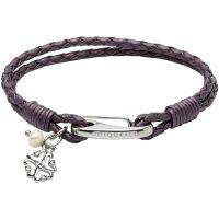 Ladies Unique Stainless Steel & Leather Bracelet B360BE/19CM