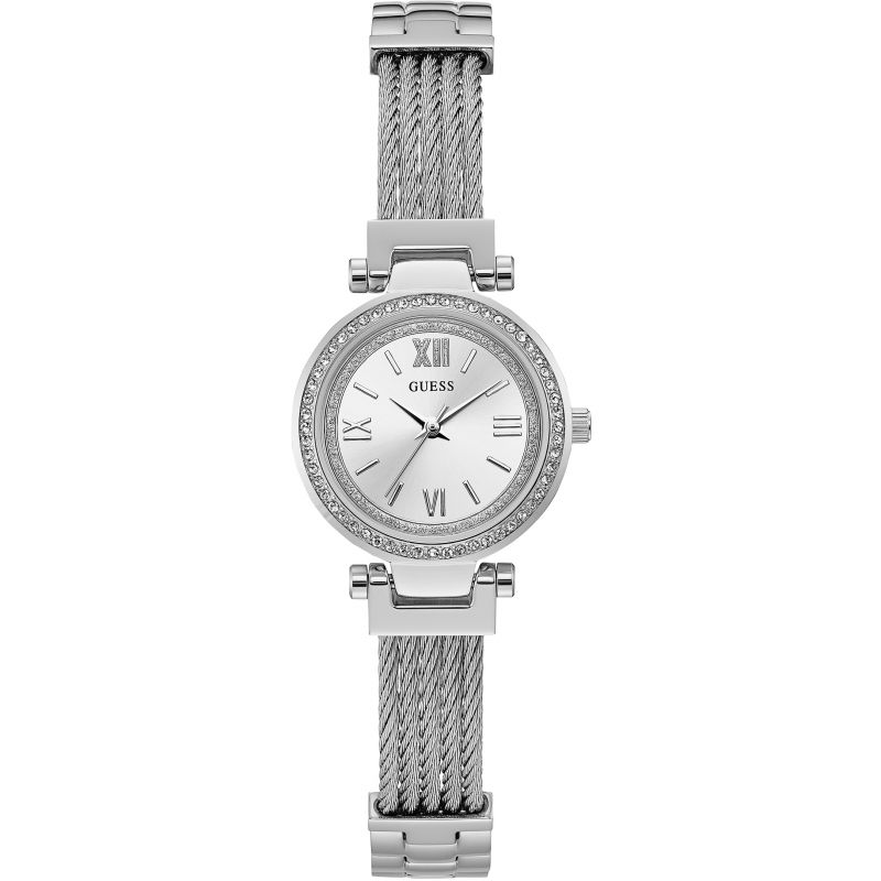 GUESS Ladies silver watch, silver dial and silver wire bracelet.