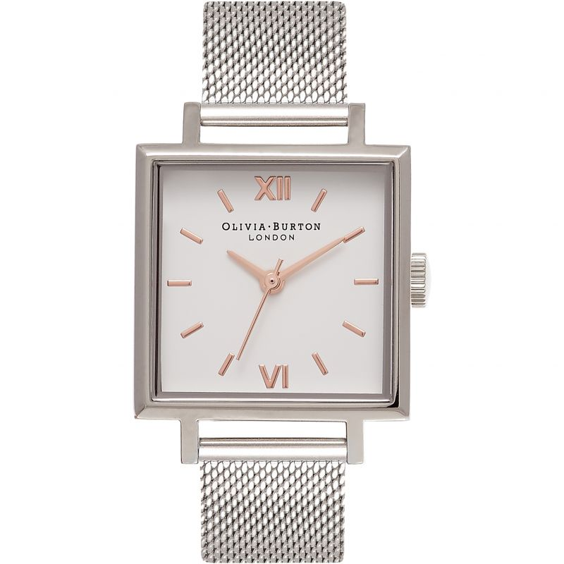 Big Dial Square Dial Rose Gold & Silver Watch
