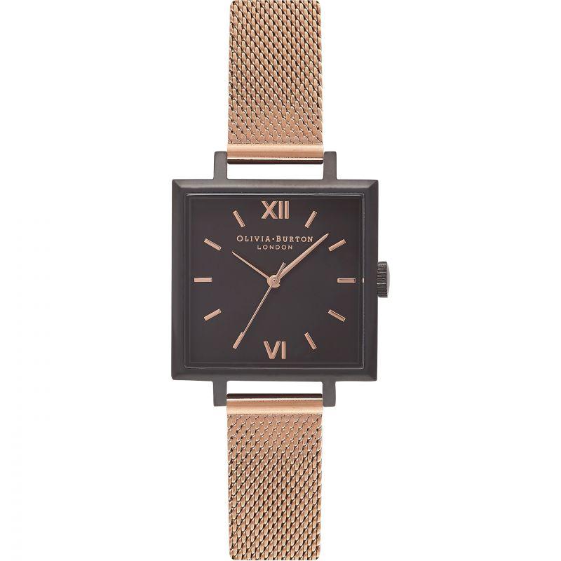 Midi Square Dial Black Rose Gold & Rose Gold Watch