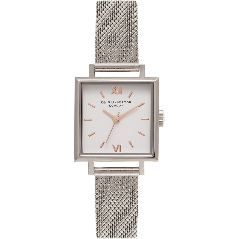 Midi Square Dial Rose Gold & Silver Watch