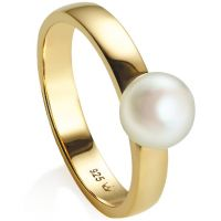 Ladies Jersey Pearl PVD Gold plated Viva Ring Size N