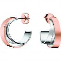 Calvin Klein Dames Unite Earrings Tweetonig staal en verguld Rose KJ5ZPE200100