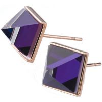 Ladies STORM Rose Gold Plated Gemza Purple Earrings