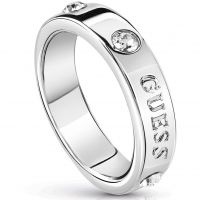 Ladies Guess Silver Plated Hoops I Did It Again Ring Size N UBR84028-54