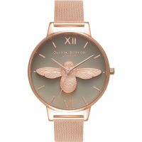 femme Olivia Burton 3D Bee Rose Gold Mesh Watch OB16AM117