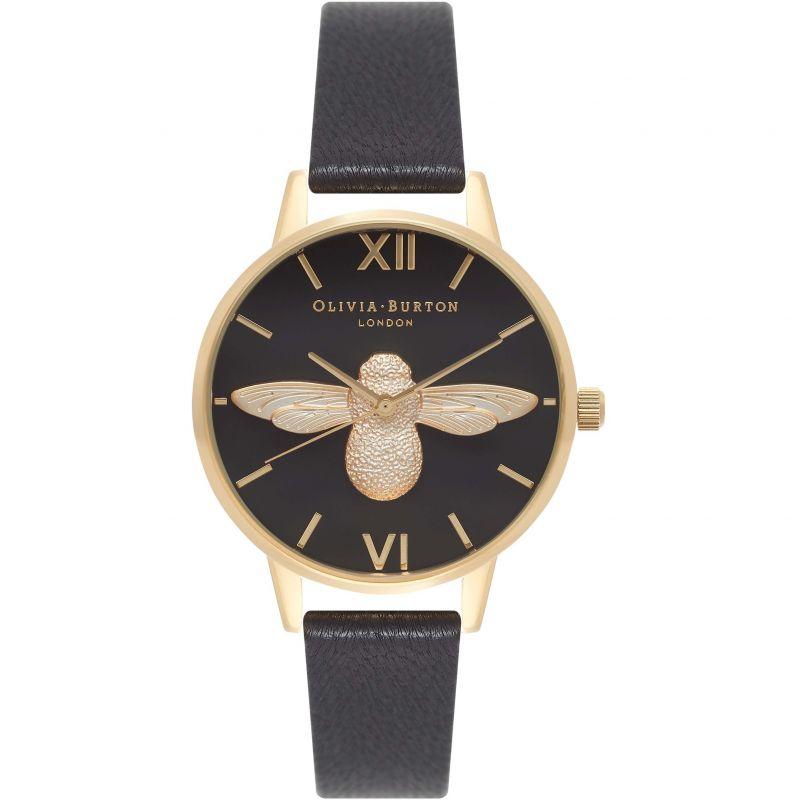 Ladies Olivia Burton Midi 3D Bee Black & Gold Watch
