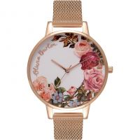 Ladies Olivia Burton English Garden Rose Gold Mesh Watch