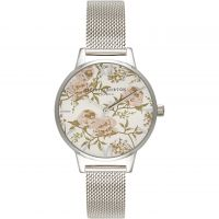 Damen Olivia Burton Parlour geblümt Print Maschen Uhren