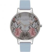 femme Olivia Burton Enchanted Garden Chalk Blue & Silver Watch OB16EG73