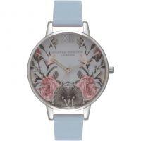 Ladies Olivia Burton Enchanted Garden Chalk Blue & Silver Watch