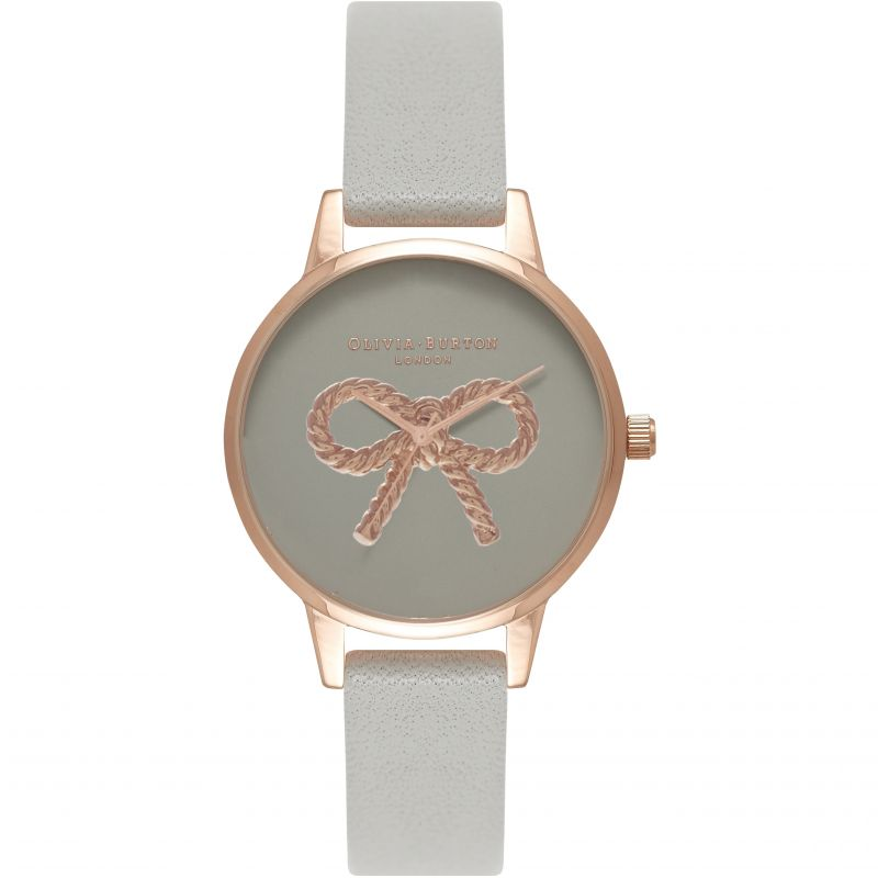 Vintage Bow Rose Gold & Grey Watch