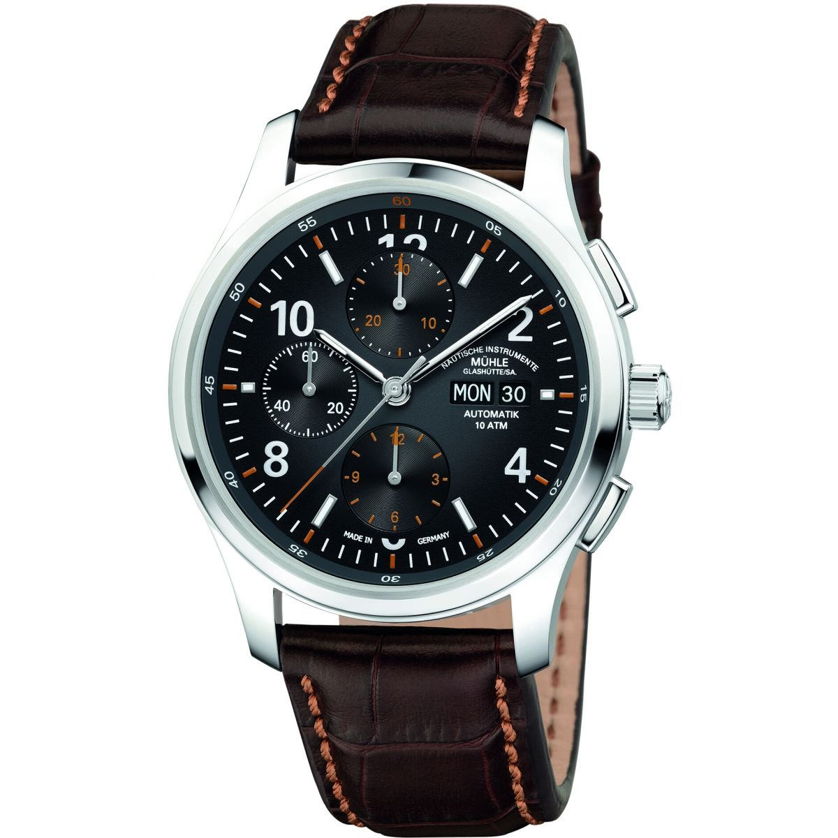 Gents muhle glashutte lunova chronograph chronograph watch m1 43 06 lb for Muhle watches