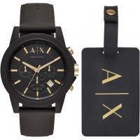 Armani Exchange Luggage Tag Gift Set Herenhorloge Zwart AX7105