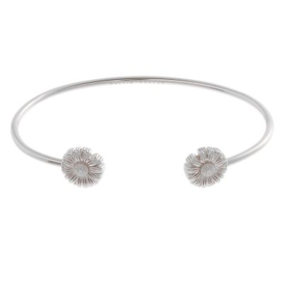 Ladies Olivia Burton Silver Plated Flower Show Daisy Open Ended Bangle OBJ16DAB05