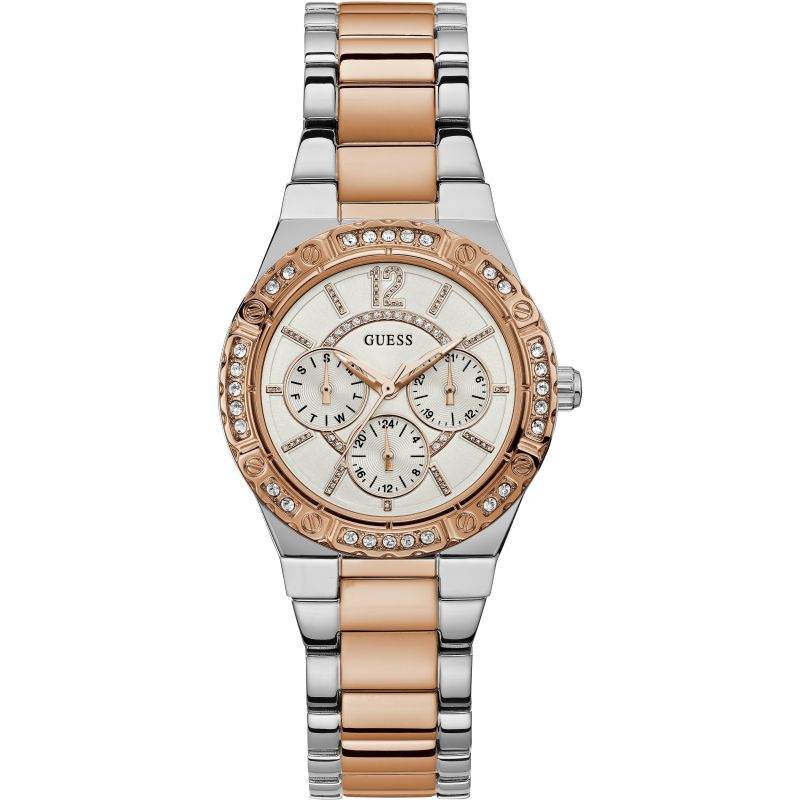 GUESS Ladies rose gold & silver watch with crystal