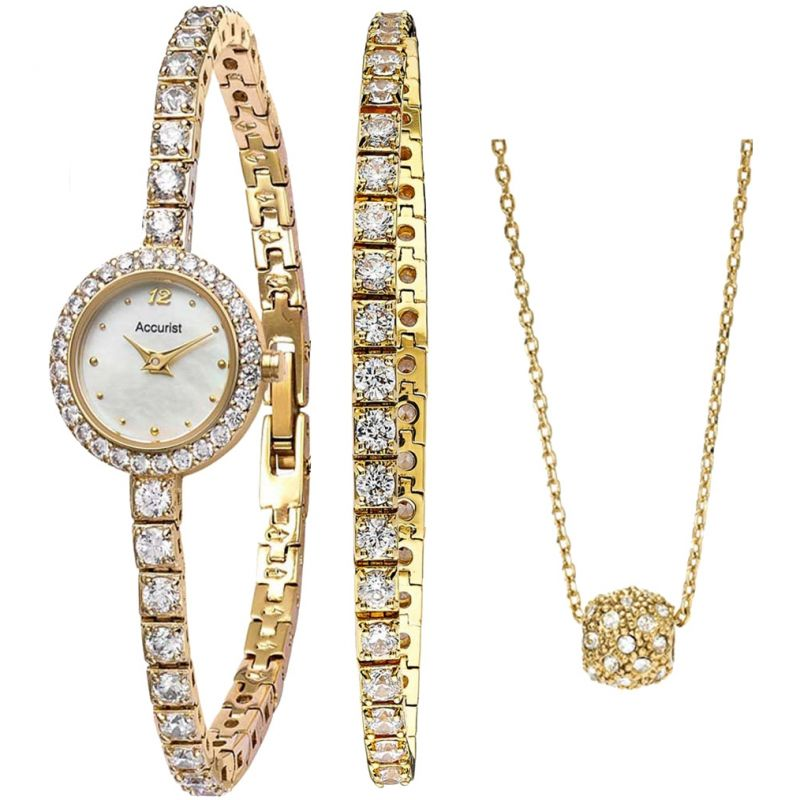 Ladies Accurist Bracelet & Necklace Gift Set Watch