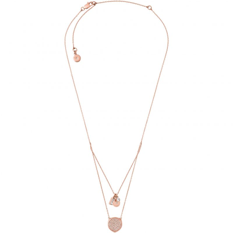 Ladies Michael Kors Rose Gold Plated Brilliance Necklace MKJ6752791