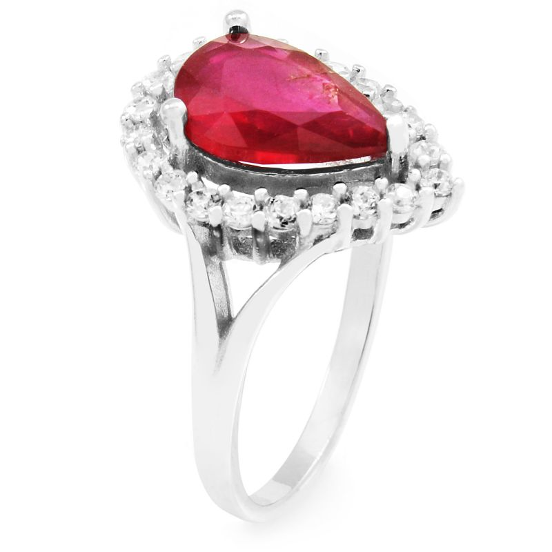 Ladies Gemstone Sterling Silver Ruby Pear Cluster Ring Size L