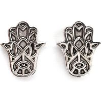 Ladies Chrysalis Silver Plated Bodhi Hasma Hand Earrings