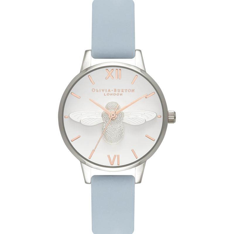 Ladies Olivia Burton Moulded Bee Chalk Blue & Silver Watch