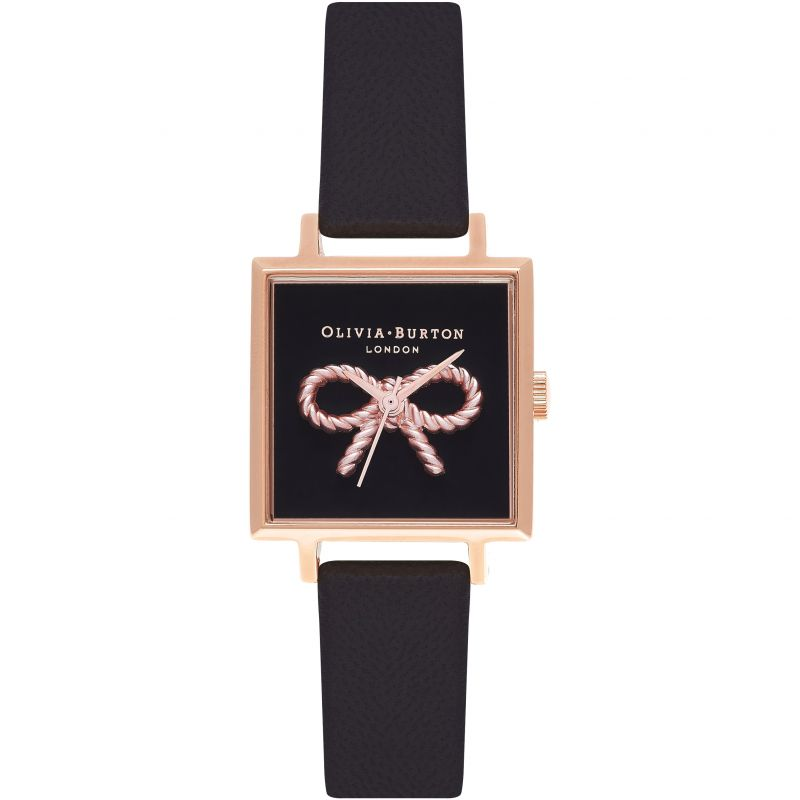 Watercolour Florals Rose Gold & Black Watch