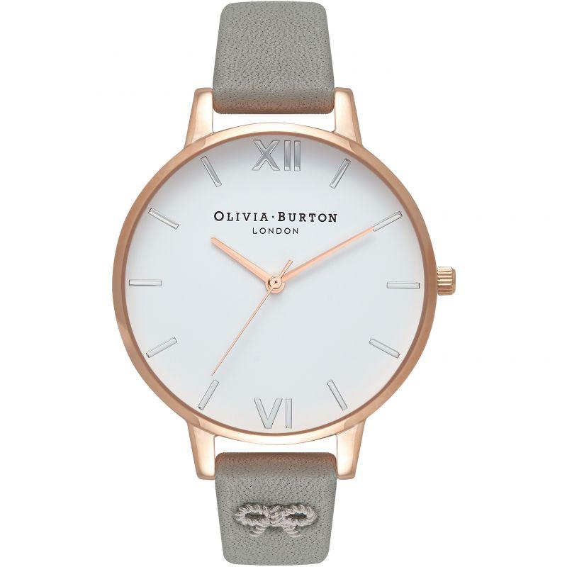Ladies Olivia Burton Vintage Bow Grey Silver & Rose Gold Watch
