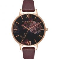 Ladies Olivia Burton Winter Garden Floral Burgundy & Rose Gold Watch