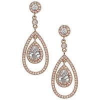 Ladies Anne Klein Rose Gold Plated Crystal Earrings