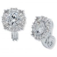 Damen Anne Klein Silber Plated Kristall Cluster Clip On Stud Ohrringe