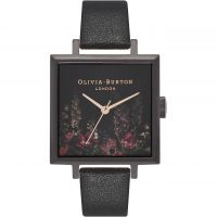 Damen Olivia Burton After dunkel Quadrat Dial IP Schwarz & Rose geblümt Uhren
