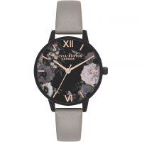 femme Olivia Burton After Dark Grey IP Black & Rose Gold Floral Watch OB16AD24