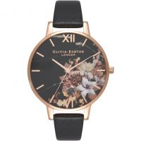 Ladies Olivia Burton Cut & Sew Black & Rose Gold Floral Watch