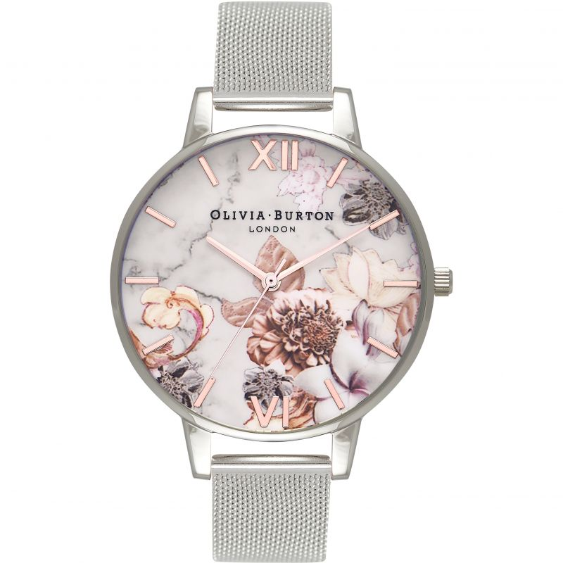 Ladies Olivia Burton Marble Floral Rose Gold & Silver Mesh Floral Watch