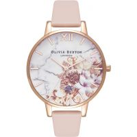 Ladies Olivia Burton Marble Floral Nude Peach & Rose Gold Floral Watch