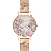 femme Olivia Burton Enchanted Garden Rose Gold Mesh Watch OB16EX90