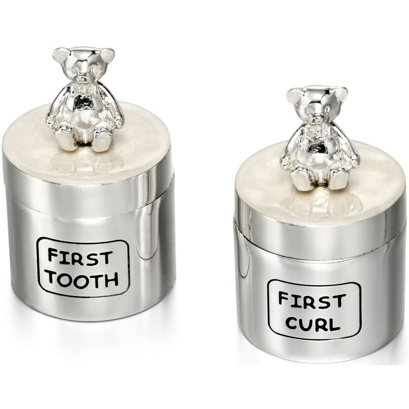 Childrens D For Diamond Silver Plated Tooth Box and Curl Box Y412