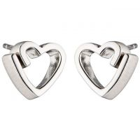 Ladies Fiorelli Sterling Silver Ribbon Heart Stud Earrings E5460