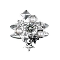Ladies Karl Lagerfeld Silver Plated Eclectic Stud Cluster Ring Size N