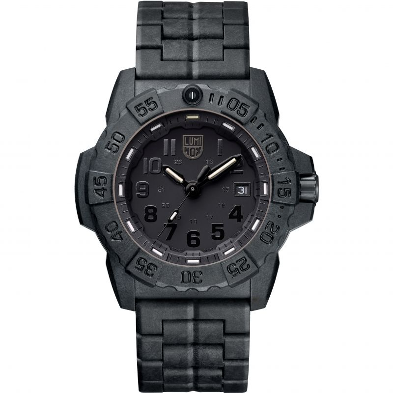 Mens Luminox 3500 Series Navy Seal Blackout Watch