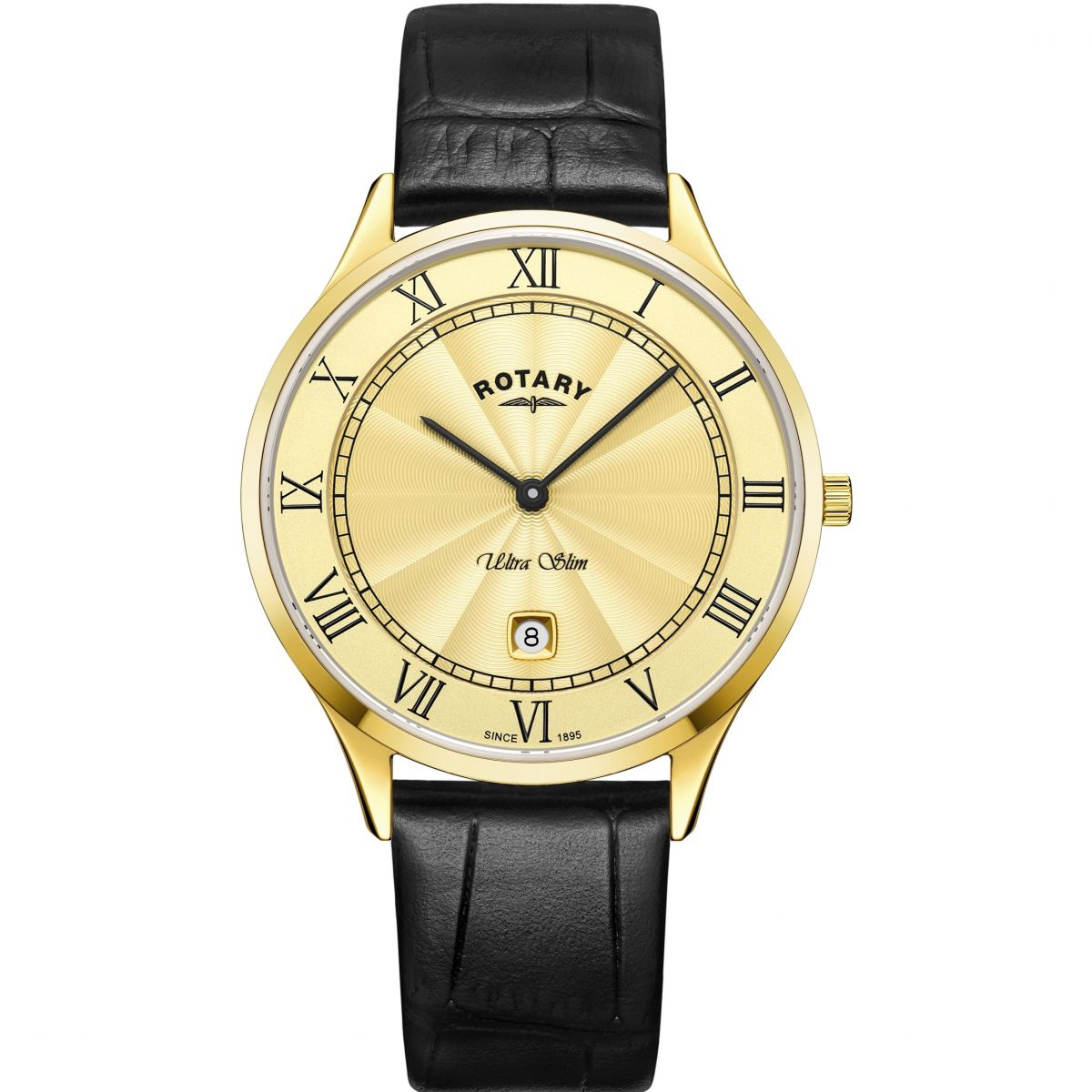 New Latest Rotary Gs08303/03 Ultra Slim Date Leather Strap Watch Black/Gold for Men Sale Sale Online