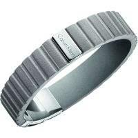 Mens Calvin Klein Stainless Steel Plate Leather Bracelet KJ5SAB090100